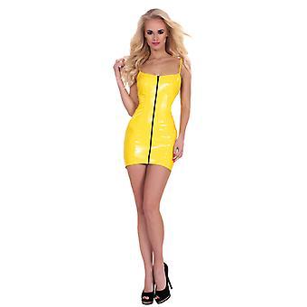 GP Datex Mini klänning med dragkedja-gul