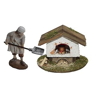 Baking oven illuminated with baker for nativity nativity nursery accessories