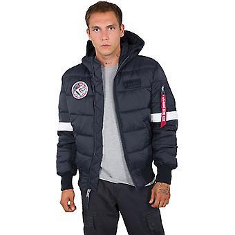 Οι βιομηχανίες άλφα της NASA με κουκούλα παλτό Πουφερ Ναυτικό 03