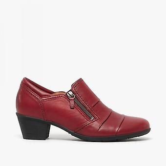 Gabor Sherbert Ladies Leather Ankel Boots mørk rød