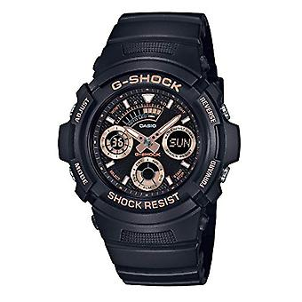 CASIO watch chronograph quartz men with black resin strap AW-591GBX-1A4ER
