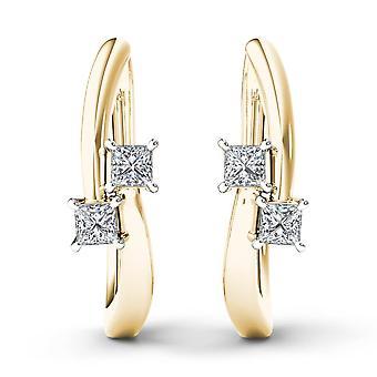 Igi sertifioitu 10k keltainen kulta 0,33 ct prinsessa timantti kaksikivinen vanne korvakorut