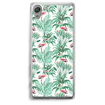 Sony Xperia XA Transparent Case - Flamingo leaves