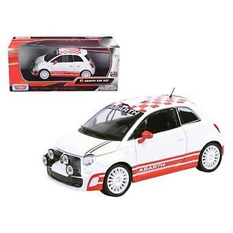 Fiat Abarth 500 R3T White 1/24 Diecast Car Model by Motormax