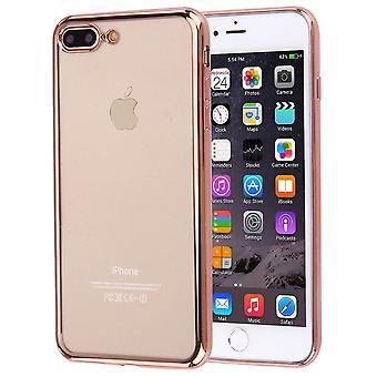 For iPhone 8 PLUS, 7 PLUS tilfelle, elegant gjennomsiktig galvanisering deksel, rose gull