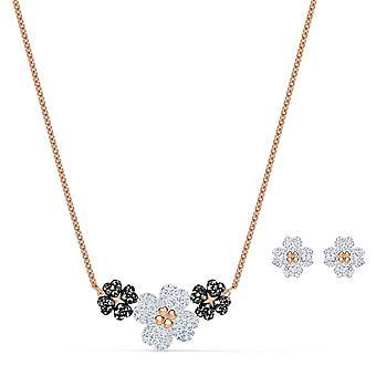 Swarovski halskjede 5520946-rosa blomst halskjede hvite og sorte krystaller hvite og sorte kvinner
