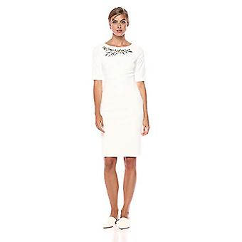 Calvin Klein Women's Solid Short Sleeve Sheath with Embellishment, Cream, 2