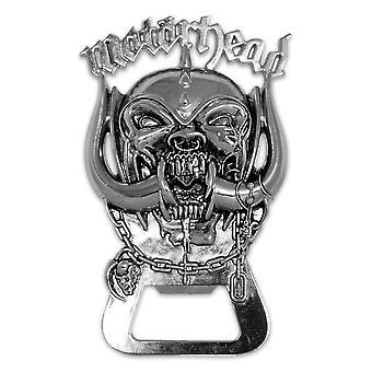 Motörhead pullon avaaja logo hopeanvärinen, valmistettu ruostumattomasta teräksestä, magneettinen.