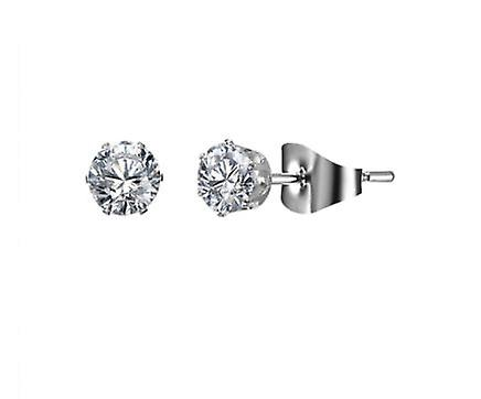 Silver Stud Earrings with Crystal - 5mm