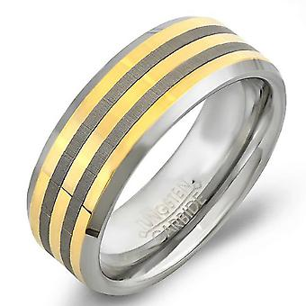 Tungsten Carbide Unisex Ring Wedding Band 8MM (5/16 inch) Center Gold Plated Laser Engraved Beveled Edge Brushed 2 lines Comfort Fit