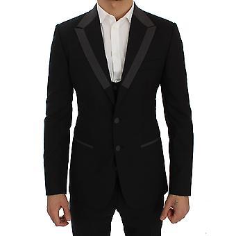 Dolce & Gabbana Black Wool Stretch Slim Blazer Jacket