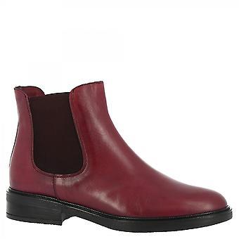 Leonardo Shoes Women's handmade fashion ankle boots in burgundy calf leather