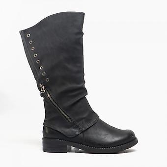 Cipriata Sasha Ladies faux nubuck zip upp hög ben boot svart
