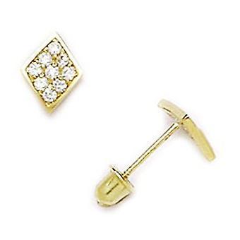 14k Yellow Gold CZ Cubic Zirconia Gesimuleerde Diamond Small Kite Screw terug Oorbellen maatregelen 8x6mm sieraden geschenken voor Wome