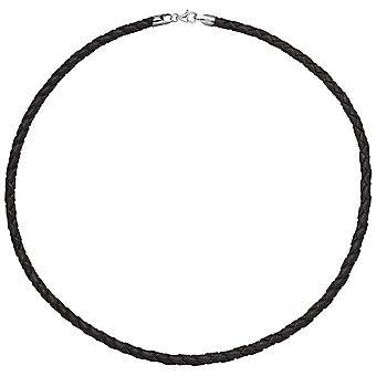 Collar de cuero de los hombres cadena cadena marrón 45 cm mosquetón 925 plata de ley