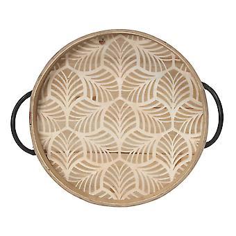 Black Safari Stamped Wood Leaf Tray