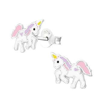 Unicorn - 925 Sterling Silver Colourful Ear Studs - W35138x