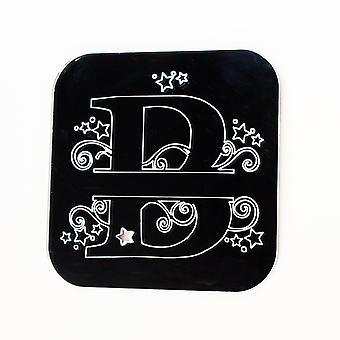 Swirls and Stars Alphabet Square Acrylic Mirror Letter B