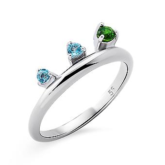 Orphelia Silver 925 Ring with Blue Topaz & Diopside Rhodium  plated