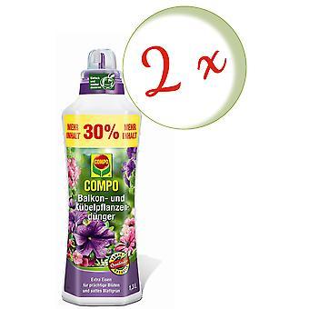 Sparset: 2 x COMPO Balkon- und Kübelpflanzendünger, 1,3 Liter