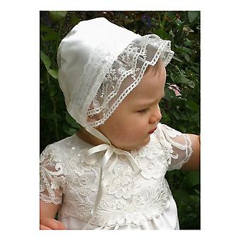 Christening Bonnet In Off White  Lace And Satin, Grace Of Sweden Design