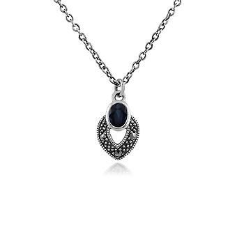 Art Deco Style Oval Sapphire & Marcasite Necklace in 925 Sterling Silver 214N688212925