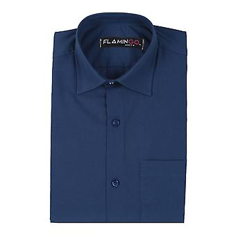 Boys Cotton Formal Navy Shirt
