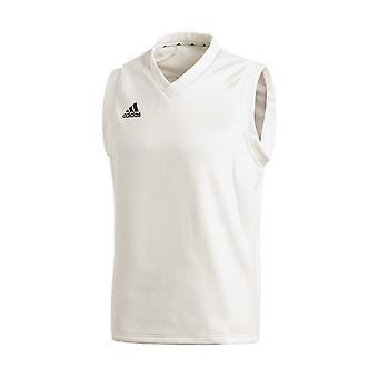 Adidas Sleeveless crianças Cricket brancos camisola moletom Jumper branco