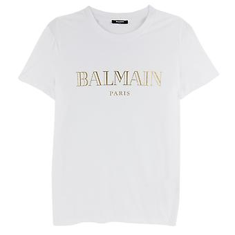 Balmain Logo Print Cotton T Shirt Wit/goud