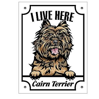 Tin plate I stay here Cairn Terrier Squinting dog sign black