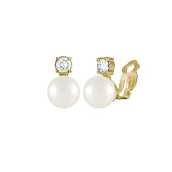 Eternal Collection Timeless White Shell Pearl & CZ Gold Tone Stud Clip On Earrings