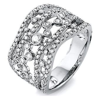 Diamond ring - 18K 750/- white gold - 1.06 ct. Size 53