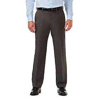 Haggar Men's Premium Comfort Classic Fit Flat Front Expandable Waist Pant, Charcoal, 44Wx28L