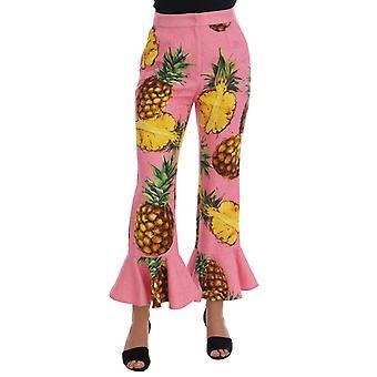 Dolce & Gabbana Çok Renkli Ananas Jakarlı Parlama Pantolon PAN60788-1