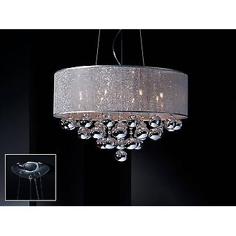 8 Light Dimmable Crystal Ceiling Cylindrical Mesh Pendant with Remote Control Polished chrome, G9