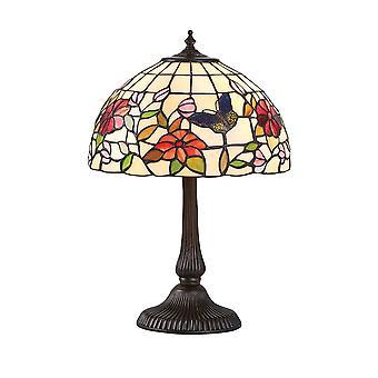 Sisätilat Perhonen - 2 vaalea pieni pöytävalaisin pronssi, Tiffany style lasi, E14
