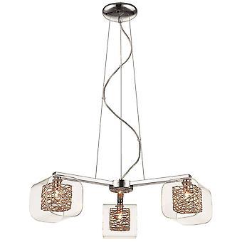 3 luz multi brazo techo colgante malla cromo, cobre, vidrio tres, G9