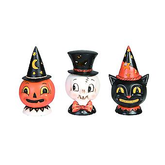 Set of 3 Johanna Parker Design Vintage Look LED Lighted Decorative Halloween Figurines