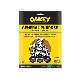 Oakey Glasspaper Sanding Sheets 230 x 280mm Medium 80g (5) OAK58289