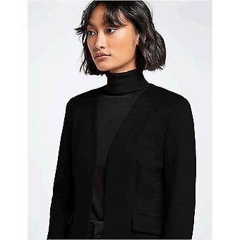 MERAKI Women's Collarless Stretch Jersey Comfort Blazer, Musta, EU S (US 4-6)
