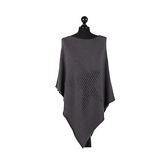 Orla Knitted Star Poncho | Charcoal | One Size