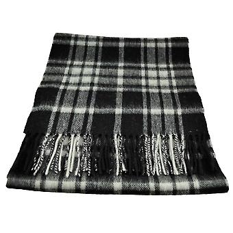 Ties Planet Black, White & Grey Checked Wool Scarf