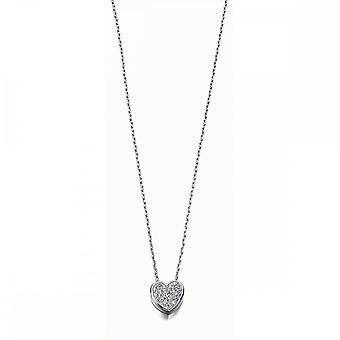 Beginnings Sterling Silver Clear Cubic Zirconia Pave Heart 40+5cm Necklaces N3232C