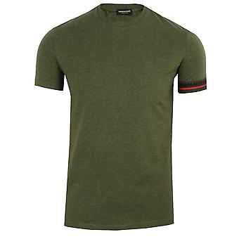 Dsquared2 men's green marl cuff detail t-shirt