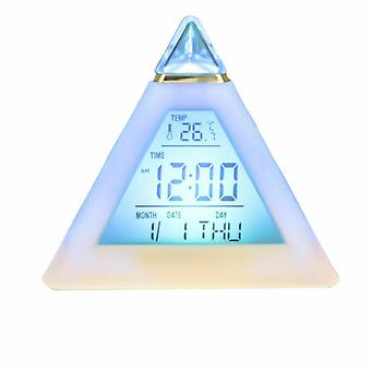 Led 7 Colors Pyramid Alarm Clock - Night Light Thermometer