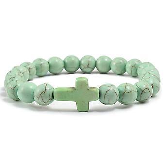 Charm Natural Stone Bracelet Cross Lava Matte Beaded Bracelets Handmade Men /
