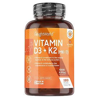 Vitamin K2 & D3 Tablets - 4000iu 180 Premium Tablets. (6 month supply)