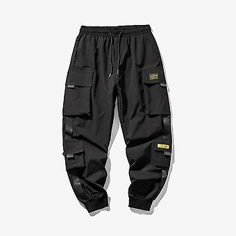 Hip Hop Joggers Cargo Men Multi-pocket Ribbons Sweatpants Pants