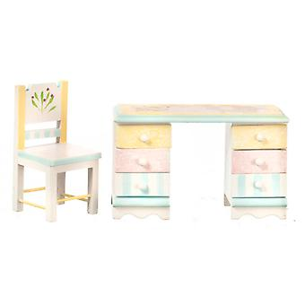 Dolls House Pastel Shabby Chic Desk & Chair Miniature 1:12 Bedroom Furniture