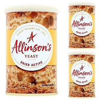 3 x 125g Allison's torkade aktiv jäst bakning bröd rullar Gluten GRATIS Vegan
